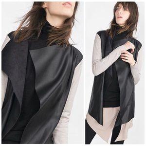 | Zara Knit | Faux Leather Drape Cardigan Jacket
